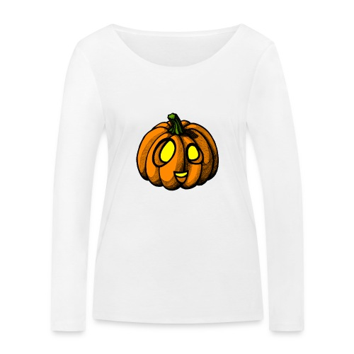 Pumpkin Halloween scribblesirii - Økologisk Stanley & Stella langærmet T-shirt til damer