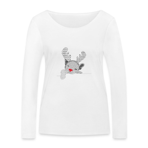 Christmass bulldog red nose - Vrouwen bio shirt met lange mouwen van Stanley & Stella