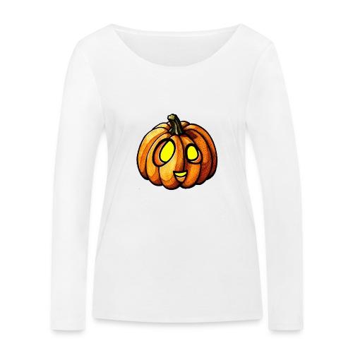 Pumpkin Halloween watercolor scribblesirii - Women's Organic Longsleeve Shirt by Stanley & Stella