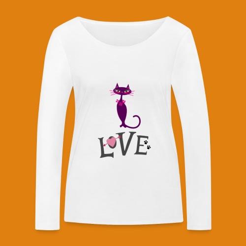t-shirt cat love - Women's Organic Longsleeve Shirt by Stanley & Stella