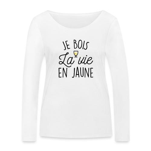 JE BOIS LA VIE EN JAUNE - T-shirt manches longues bio Stanley & Stella Femme