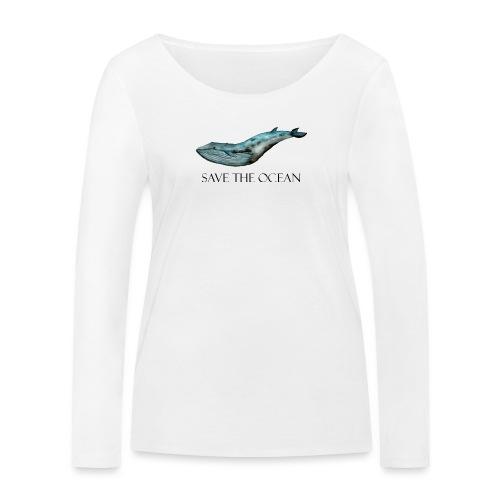 SAVE THE OCEAN ręcznie malowany wieloryb - Ekologiczna koszulka damska z długim rękawem Stanley & Stella