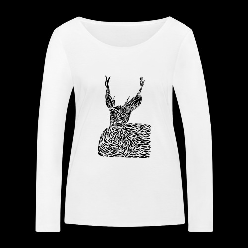 deer black and white - Stanley & Stellan naisten pitkähihainen luomupaita