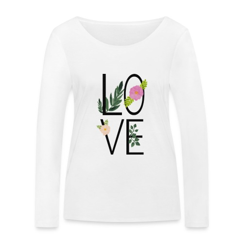 Love Sign with flowers - Women's Organic Longsleeve Shirt by Stanley & Stella