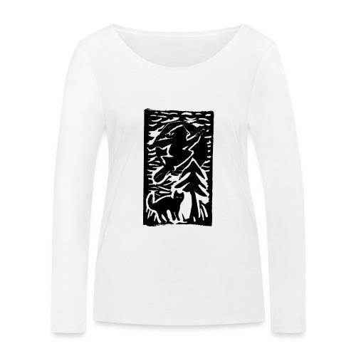 Hexe mit Katze - Frauen Bio-Langarmshirt von Stanley & Stella