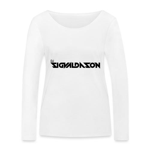 DJ logo sort - Økologisk Stanley & Stella langærmet T-shirt til damer