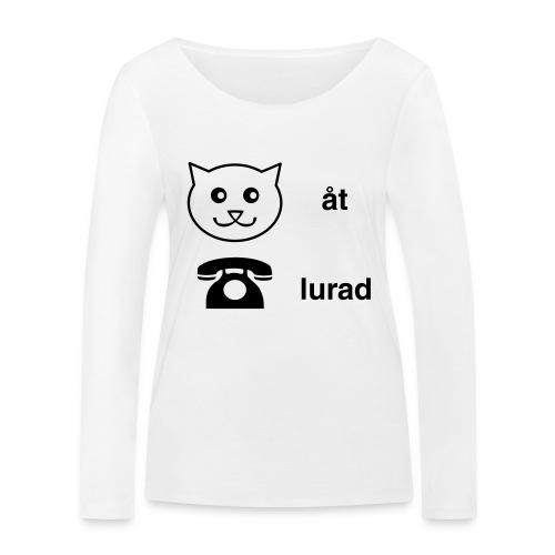 Katt åt telefon - Ekologisk långärmad T-shirt dam från Stanley & Stella