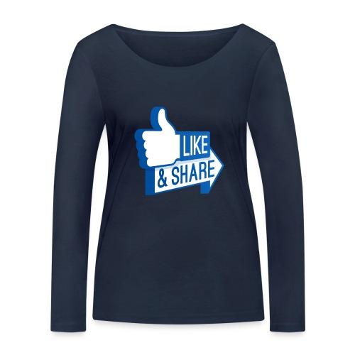 Like & Share (Facebook) - Maglietta a manica lunga ecologica da donna di Stanley & Stella