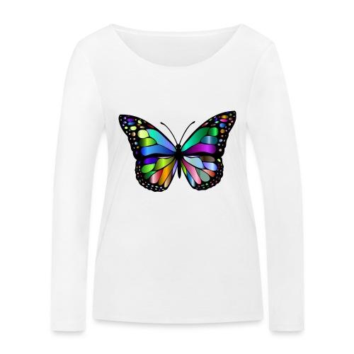 Kolorwy Motyl - Ekologiczna koszulka damska z długim rękawem Stanley & Stella