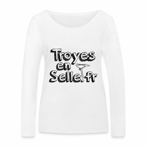 logo Troyes en Selle noir - T-shirt manches longues bio Stanley & Stella Femme