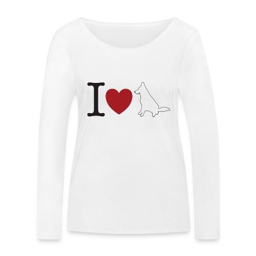 I LOVE White Dog - Ekologiczna koszulka damska z długim rękawem Stanley & Stella