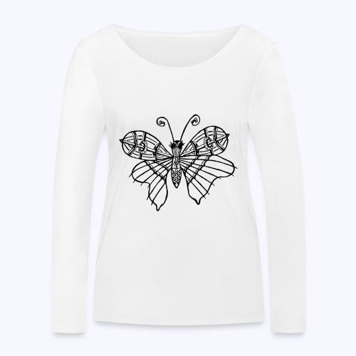 Schmetterling schwarz - Frauen Bio-Langarmshirt von Stanley & Stella