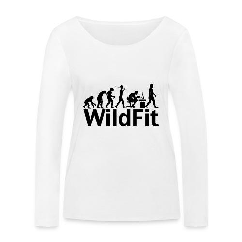 WildFit Logo Evolution in Schwarz - Frauen Bio-Langarmshirt von Stanley & Stella