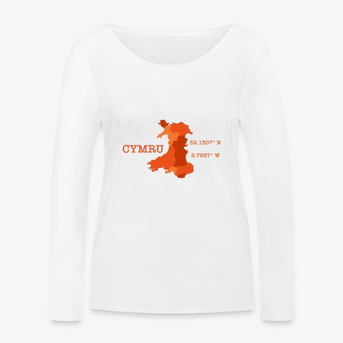 Cymru - Latitude / Longitude - Women's Organic Longsleeve Shirt by Stanley & Stella