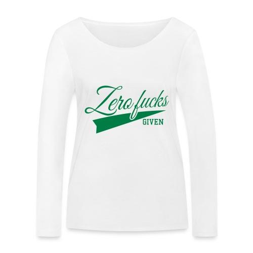 Zero fucks given T-paita - Stanley & Stellan naisten pitkähihainen luomupaita
