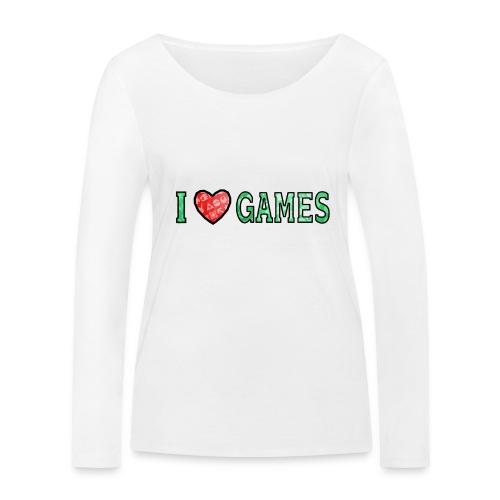 I Love Games - Ekologiczna koszulka damska z długim rękawem Stanley & Stella