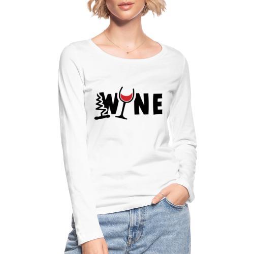 Wijn, wijnglas en kurkentrekker. Proost, wijnfeest - Vrouwen bio shirt met lange mouwen van Stanley & Stella