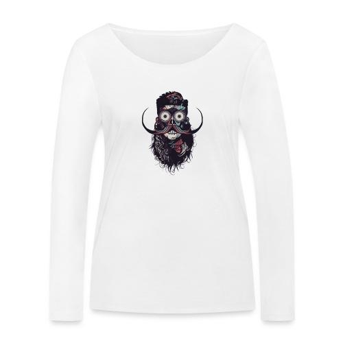 hipster tete de mort crane barbu skull moustache b - T-shirt manches longues bio Stanley & Stella Femme