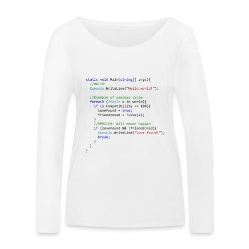 Love seen by a C# programmer - Maglietta a manica lunga ecologica da donna di Stanley & Stella