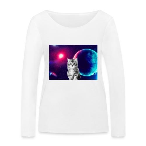 Cute cat in space - Stanley & Stellan naisten pitkähihainen luomupaita