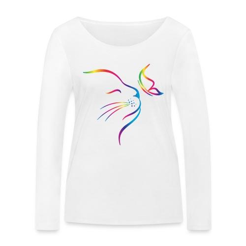 Vorschau: rainbow butterfly cat - Frauen Bio-Langarmshirt von Stanley & Stella