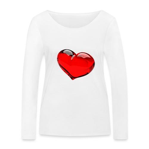serce 3D - Ekologiczna koszulka damska z długim rękawem Stanley & Stella