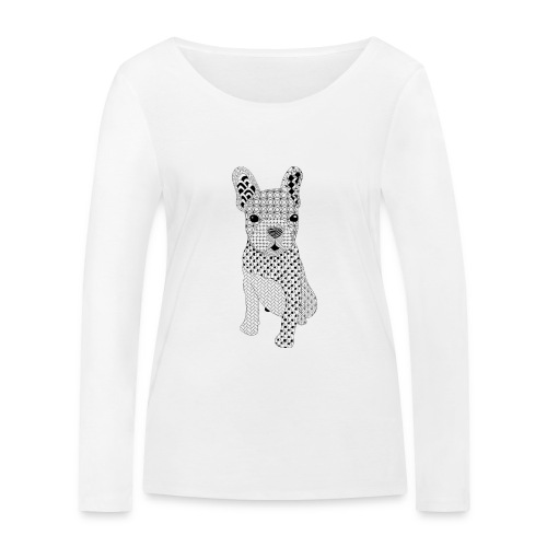 Bulldog puppy patroon - Vrouwen bio shirt met lange mouwen van Stanley & Stella