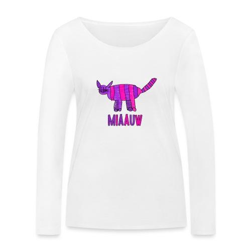 miaauw, paarse poes - Vrouwen bio shirt met lange mouwen van Stanley & Stella