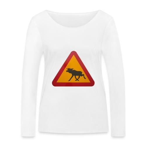 Warnschild Elch - Frauen Bio-Langarmshirt von Stanley & Stella