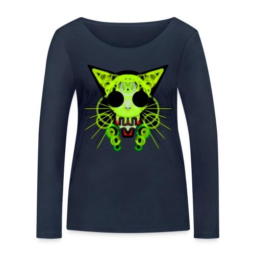 cat skeleton skull light green in deep black - Women's Organic Longsleeve Shirt by Stanley & Stella