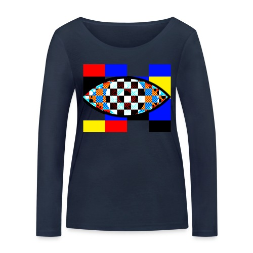 eye with squares in strong colors - Women's Organic Longsleeve Shirt by Stanley & Stella