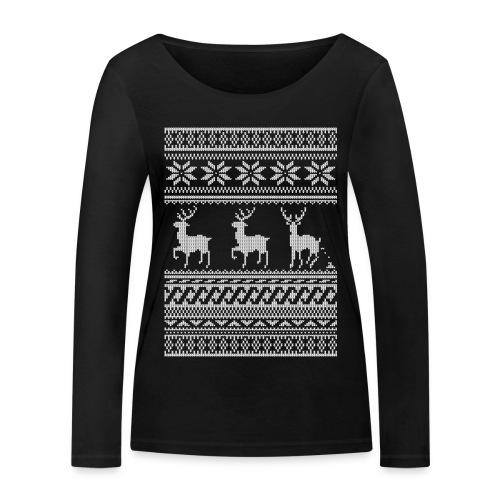 Ugly Christmas Sweater Rentier Muster (lustig) - Frauen Bio-Langarmshirt von Stanley & Stella