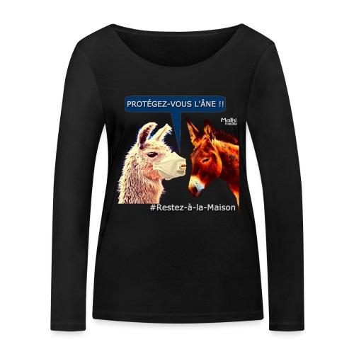 PROTEGEZ-VOUS L'ÂNE !! - Coronavirus - Camiseta de manga larga ecológica mujer de Stanley & Stella