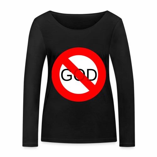 Znak zakazu - No God - Ekologiczna koszulka damska z długim rękawem Stanley & Stella