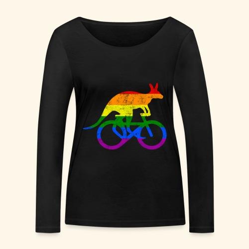 Radfahrer Känguru lustiges Fahrrad Regenbogenfahne - Frauen Bio-Langarmshirt von Stanley & Stella