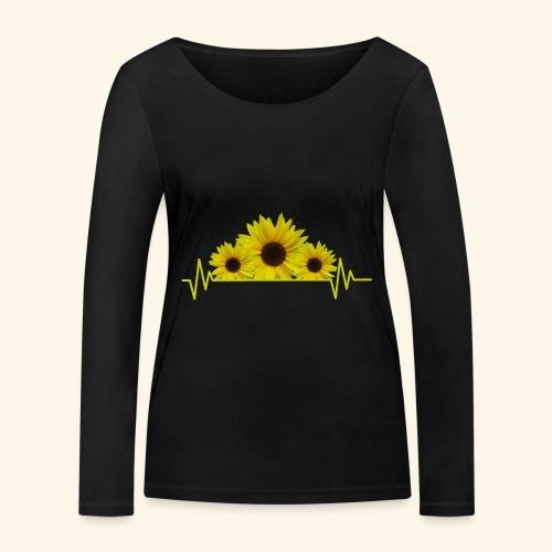 Sonnenblumen Herzschlag Sonnenblume Blumen Blüten - Frauen Bio-Langarmshirt von Stanley & Stella