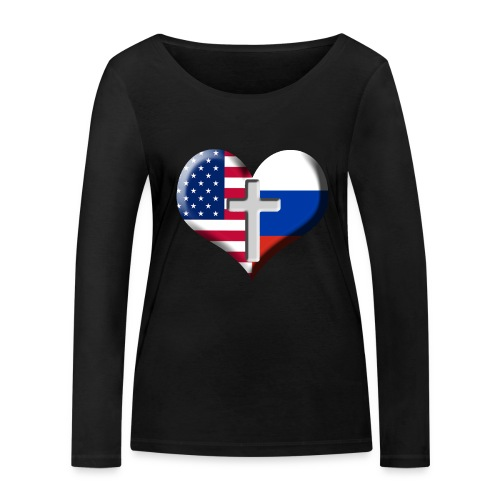 USA and Russia Heart with Cross - Women's Organic Longsleeve Shirt by Stanley & Stella