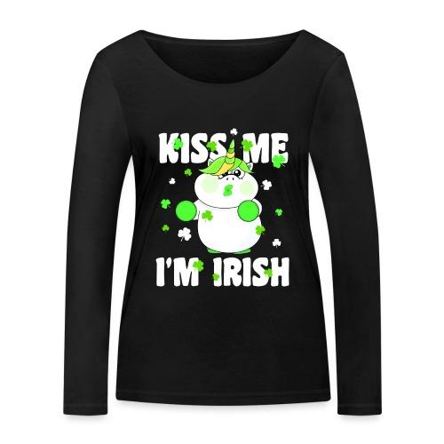 Kiss me I'm Irish Unicorn Einhorn - Frauen Bio-Langarmshirt von Stanley & Stella