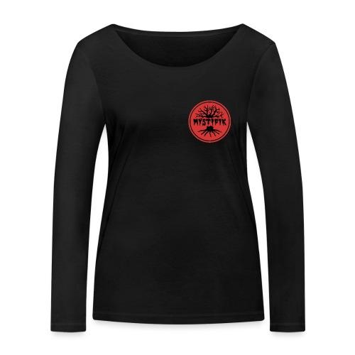 sort logo på rød baggrund med rød ring - Økologisk Stanley & Stella langærmet T-shirt til damer