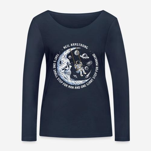 moon astronaut stars space - Frauen Bio-Langarmshirt von Stanley & Stella