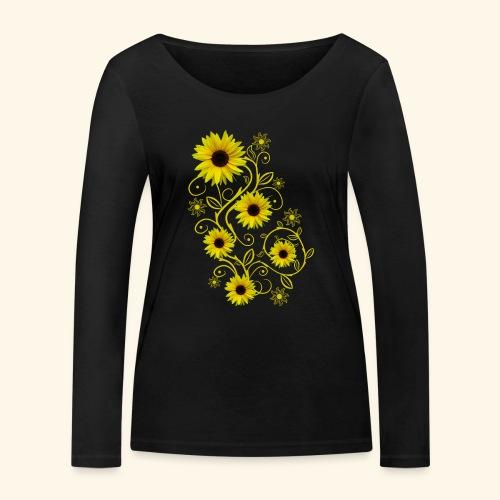 gelbe Sonnenblumen, Ornamente, Sonnenblume, Blumen - Frauen Bio-Langarmshirt von Stanley & Stella