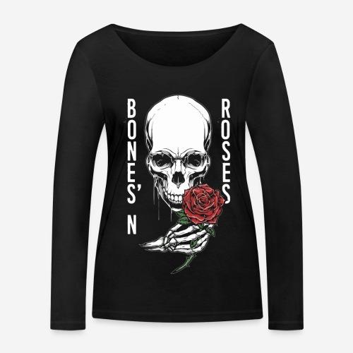 Knochen Rosen Schädel - Frauen Bio-Langarmshirt von Stanley & Stella