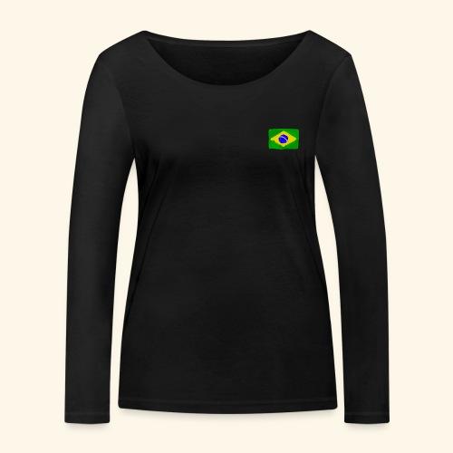 Brazilian flag InWatercolours - Ekologisk långärmad T-shirt dam från Stanley & Stella