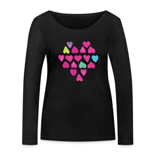 I love you Herz aus Herzen mit Doodle Textur - Frauen Bio-Langarmshirt von Stanley & Stella