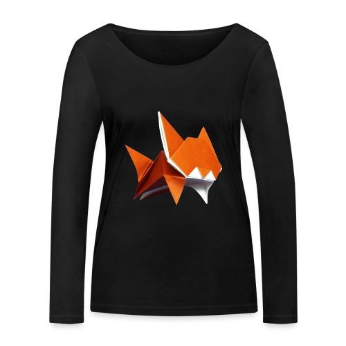 Jumping Cat Origami - Cat - Gato - Katze - Gatto - Women's Organic Longsleeve Shirt by Stanley & Stella
