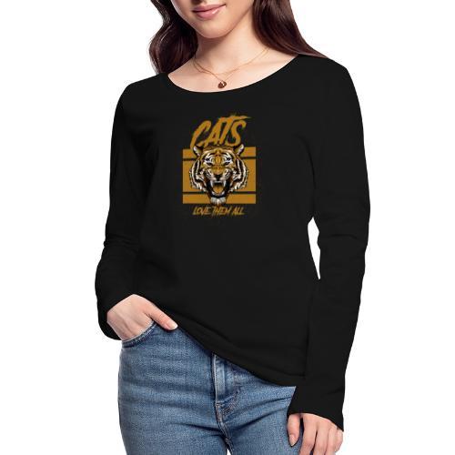 Cats, love them all - Vrouwen bio shirt met lange mouwen van Stanley & Stella