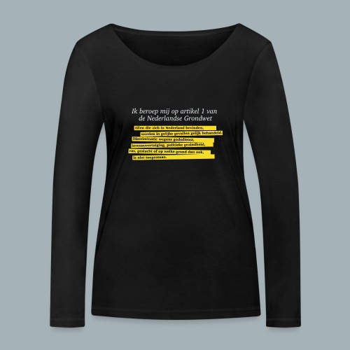 Nederlandse Grondwet T-Shirt - Artikel 1 - Vrouwen bio shirt met lange mouwen van Stanley & Stella