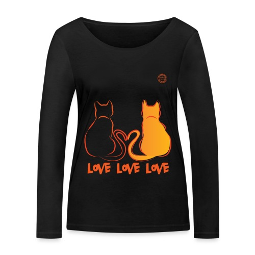 The Red Twins LOVE LOVE LOVE - Maglietta a manica lunga ecologica da donna di Stanley & Stella