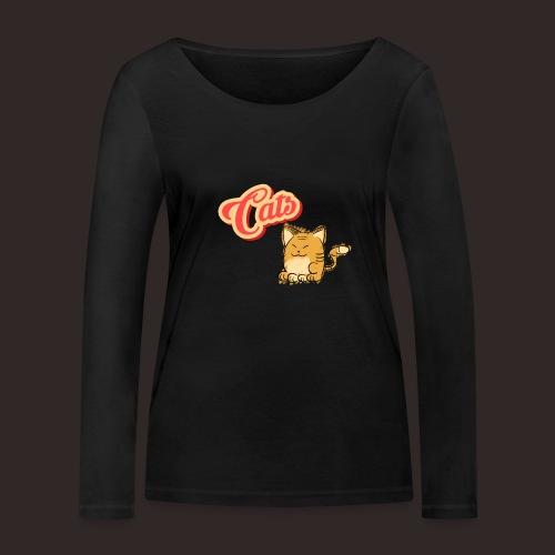 Katze | Katzen süß Schriftzug - Frauen Bio-Langarmshirt von Stanley & Stella