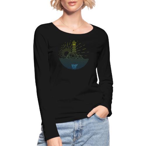 Leuchtturm mit Sonne am Meer - Frauen Bio-Langarmshirt von Stanley & Stella